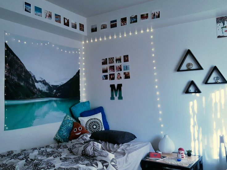 My newest bedroom decor! #bedroom #decor #urban #cozy #ideas #pillows #string #lights #interior #design #ideas #teenage #diy #tumblr #cute #modern #blue #dream #hipster #boho #decoration