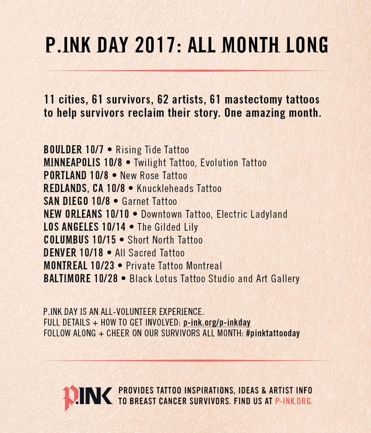 P.ink Day 2017 is almost here. Our volunteers will be helping survivors heal with ink in Boulder, Minneapolis, Portland, Redlands, San Diego, New Orleans, Los Angeles, Columbus, Denver, Montreal and Baltimore.  #pinktattooday #mastectomy #tattoos #tattoo #breastcancer #survivor [p-ink.org]
