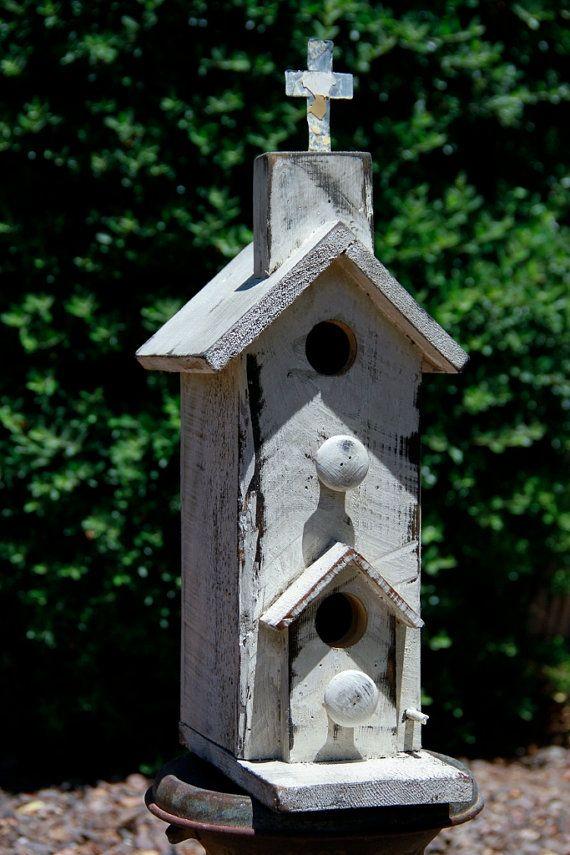 Antique style church birdhouse old west birdhouse