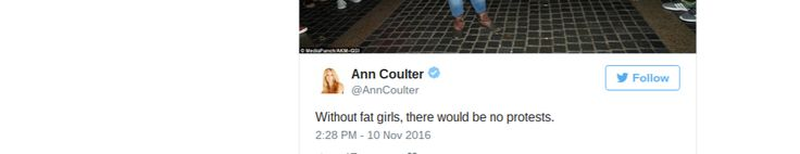 Woman hater Ann Coulter fat shames protesters. Well, Ann, as your hero Trump would tell you: Coulter's man would need great inner strength to keep from vomiting & Viagra to maintain an erection while looking at Ann Coulter's face while she is riding him. He would need a trip to the ER not because of a 4 hour side effect, but because  Coulter's pointy bony fatless pubic bone pounded him beyond repair. @goofyAnnCoulter -We won't start a fight, but we will finish it