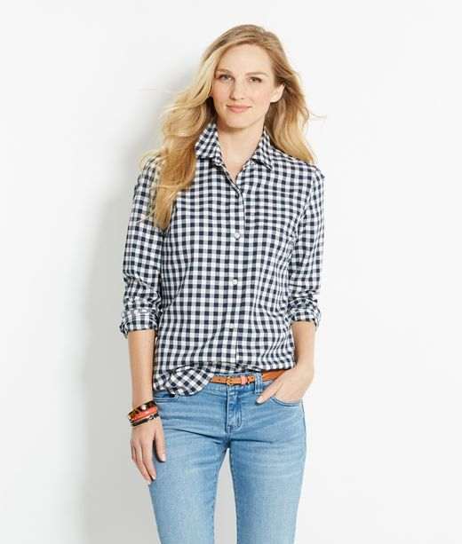 2)Shop Shirts: Gingham Flannel Shirt for Women | Vineyard Vines  Size six in navy blue