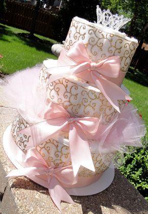 Princess Diaper Cake - Light Pink Satin & Gold Damask Princess Crown Baby Girl Baby Shower Elegant Diaper Cake Centerpiece by DomesticDivaDesignz on Etsy https://www.etsy.com/listing/237846116/princess-diaper-cake-light-pink-satin