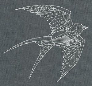 Airy and sharp as a summer breeze, this geometric bird design will be lovely soaring on all sorts projects!