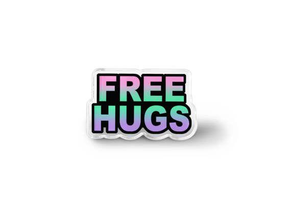 Free Hugs Pin - Grunge pastello accessori, Pin morbido Grunge, Word Art spilla, Hippie gioielli, pace & amore Lapel Pin