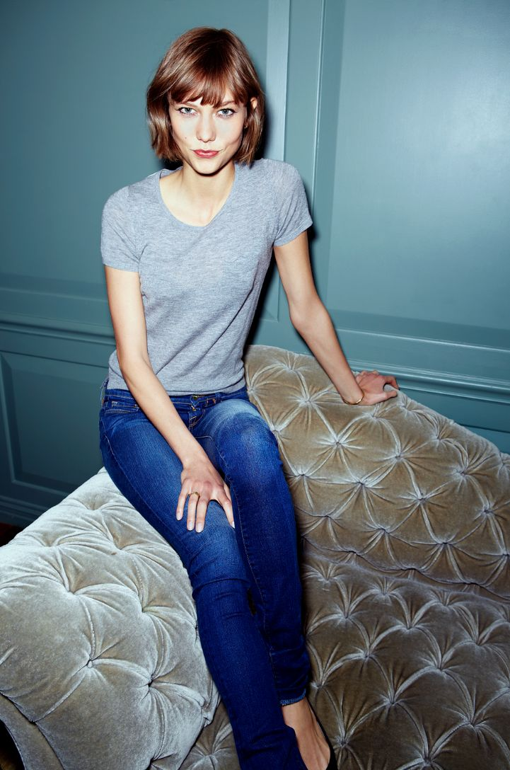 Karlie kloss Grey t shirt , denim, classic                                                                                                                                                                                 More