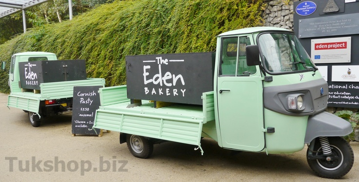 Eden Project with two of their fleet of pastie vending tuk tuks form www.tukshop.biz.