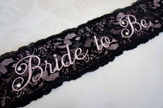 Black and Pink Lace Bridal Sash by CrystallizedDesign on Etsy