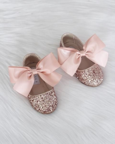 57045caf282b ROSE GOLD Rock Glitter Maryjane Flats With ROSE GOLD Satin Bow – Kailee P.  Inc.