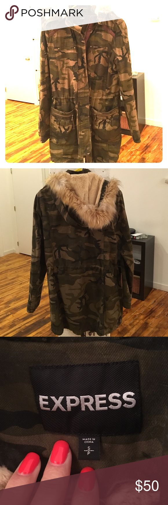 Reserved @jessbugluv Express Camo Jacket Express Camouflage Jacket/Coat Sz Small. Worn literally a handful of times. In great condition and extremely comfortable. Hood and inner fur lining are removable. Drawstrings at bottom and waist to get desired fit. This jacket was worn in the TV show Shameless!!! Loved seeing it on there. Express Jackets & Coats Utility Jackets