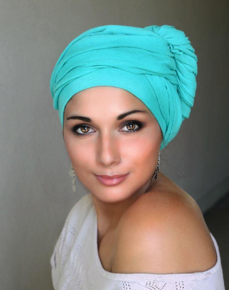 Jade Cotton Turban, Head Wrap, Chemo Hat, Head Wrap, Cotton Gauze, Alopecia Scarf, Turquoise Turban, Boho, Gypsy, One Piece Wrap 331-72 - pinned by pin4etsy.com