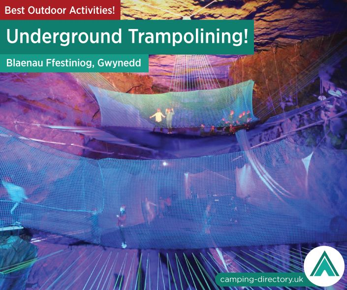Outdoor Activity: Llechwedd Slate Caverns. Bounce Below is the first facility of its kind in the world, located at the Zip World Titan site at Llechwedd Slate Caverns in Bleanau Ffestiniog, North Wales. Hidden underground in a 176-year old disused cavern that is twice the size of St Paul's Cathedral, you will find this subterranean playground installed with huge 'bouncy nets'! Outdoors. Camping. Campsite. Holiday. UK. Travel. Adventure. Wales.