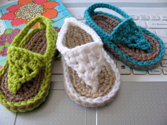 NEW Pattern Buggs Crochet Thong Sandals  por mycrystalstrands