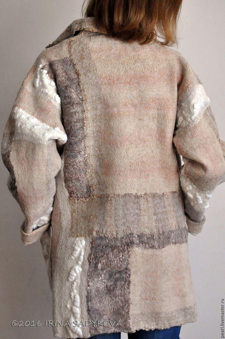 Купить Парка ZEFIR - бежевый, абстрактный, принт, квилт-войлок, пальто, парка, куртка, осень