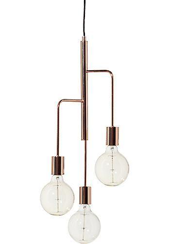 Takpendel Cool i blankkoppar med tre ljuskällor i olika höjd. Ljuskällor ingår ej, gör sig bäst med en stor globlampa i! Sladdlängd 3m.