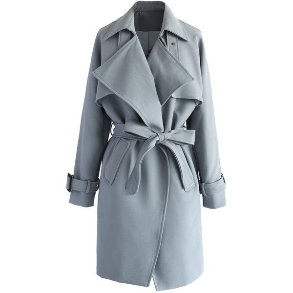 Chicwish Textured Belted Trench Coat in Grey (€65) ❤ liked on Polyvore featuring outerwear, coats, jackets, coats & jackets, casacos, grey, draped trench coats, textured coat, leather-sleeve coats and waterfall coat