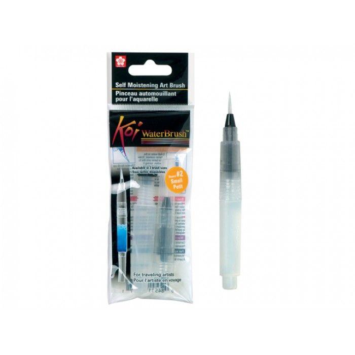 Koi waterbrush vulbaar penseel.  Het holle penseel kun je vullen met water om mee te aquarelleren.  Natuurlijk zou je het ook kunnen vullen met inkt, ecoline etc.   Uitvoering met soepele ronde nylonpunt.  Maat van de punt ca. 2mm.