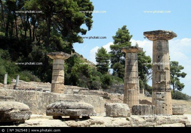 Columnas dóricas del templo de Hera en Olimpia, finales del siglo VI a.C. Arte griego