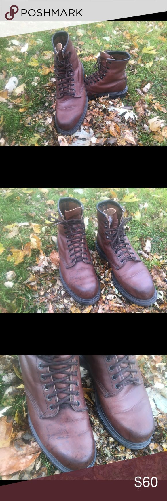 Men's Red Wing Boots Leather Red Wing hiking boots. There is some slight discoloration spots on the right toe box. Red Wing Shoes Shoes Boots