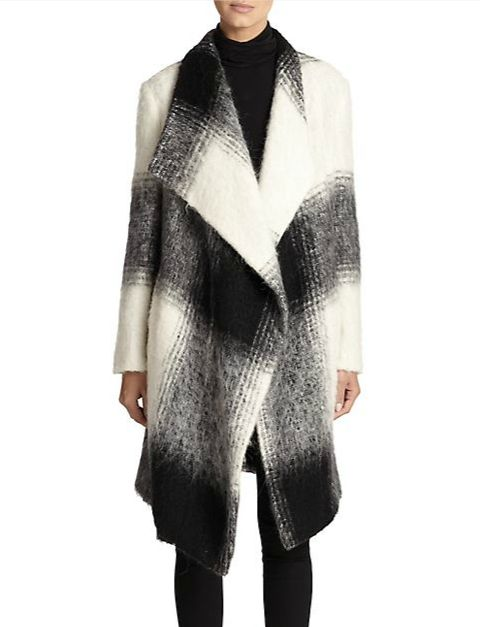 DKNY - Draped Ombré Plaid Coat
