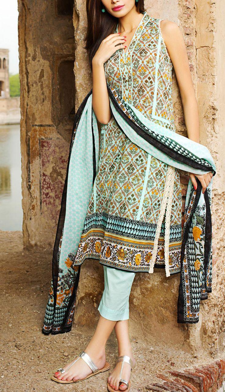 Buy Aqua Printed Cotton Lawn Dress by Khaadi Lawn Collection Vol.II 2015.