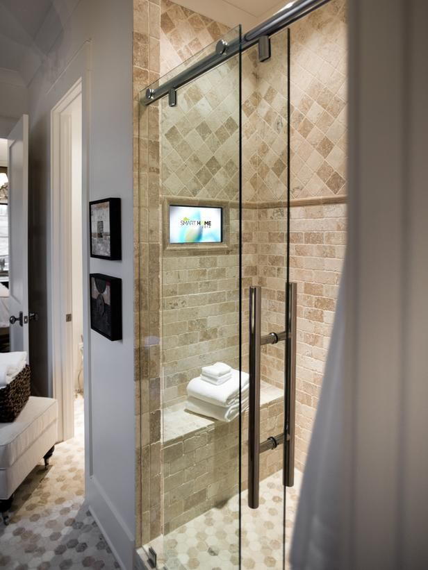 TV in the shower!  Yes!!!   - Master Bathroom Pictures From HGTV Smart Home 2014 on HGTV
