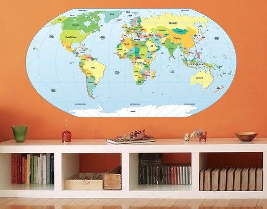 World Map rounded in vinyl decal for home wall decoration.  Apply this sticker in any flat surface (laptop, windows, doors, furniture). Deco vinyl for your home. $72.70