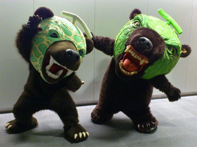 子供が泣きそうな、リアルさがって怖い顔をした「メロン熊」