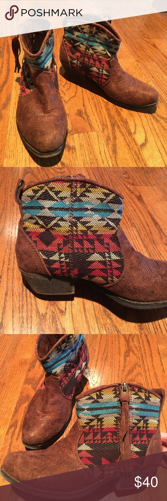 Big Buddha Tribal Print Ankle Booties Big Buddha tribal print ankle boogies- small heel, fringe on the zipper, and very comfortable. In excellent condition. Size 7 Big Buddha Shoes Ankle Boots & Booties