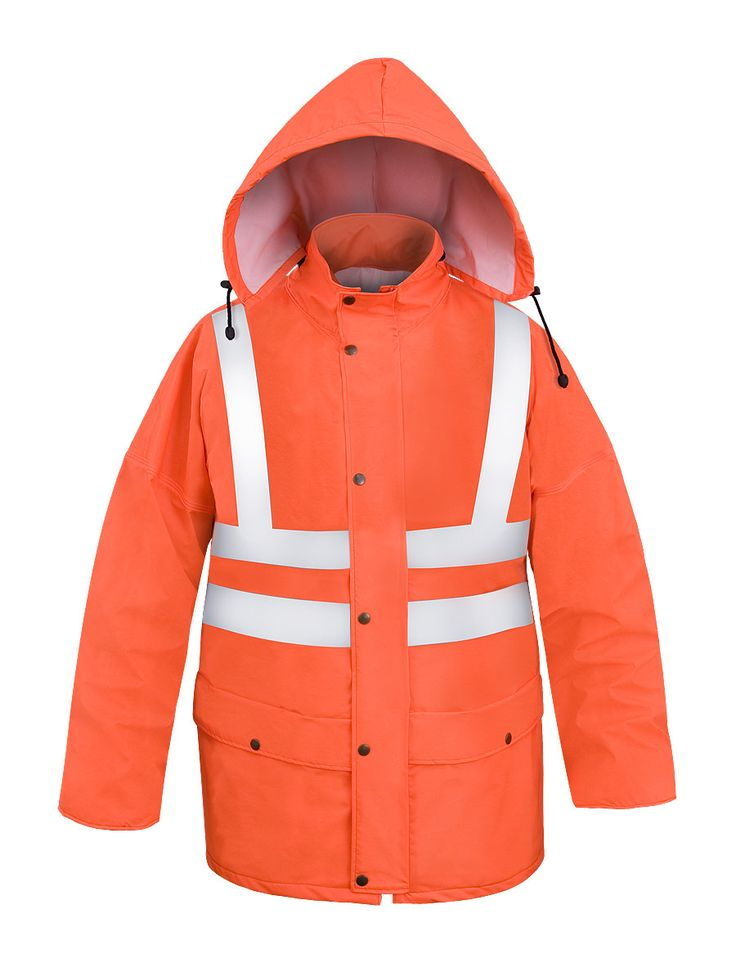 WATERPROOF WARNING JACKET Model: 085 The jacket is fastened with hidden zip and storm flap. The model has a concealed hood into collar, 2 welded pockets with protective flaps. The sleeves contain wind-cuffs. Reflective tapes on the jacket make workers more visible. The jacket is made of light waterproof and breathable fabric called Aquapros and it has been designed to be used at unfavorable weather conditions when visibility is limited.