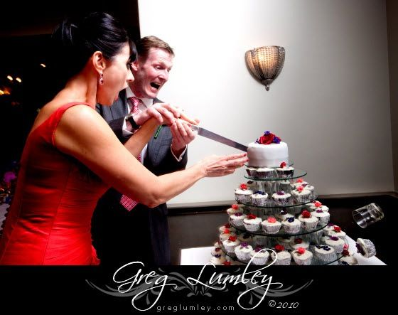 Glass pops out during cake cutting.