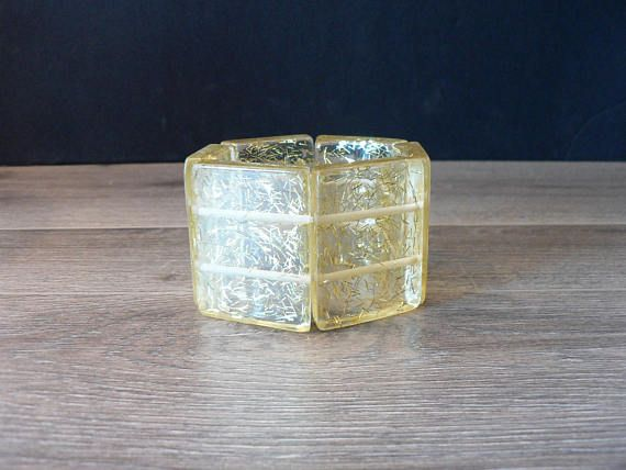 Vintage Confetti Lucite Panel Bangle  Yellow Tinted Clear