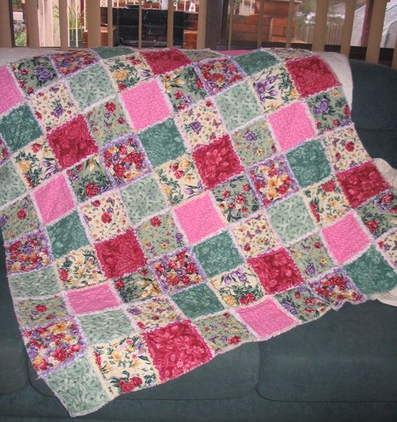 My first shaggy quilt made in 2008 as 1st prize to raise funds for Breast Cancer.  Lovely and warm made of flanelette fabrics.