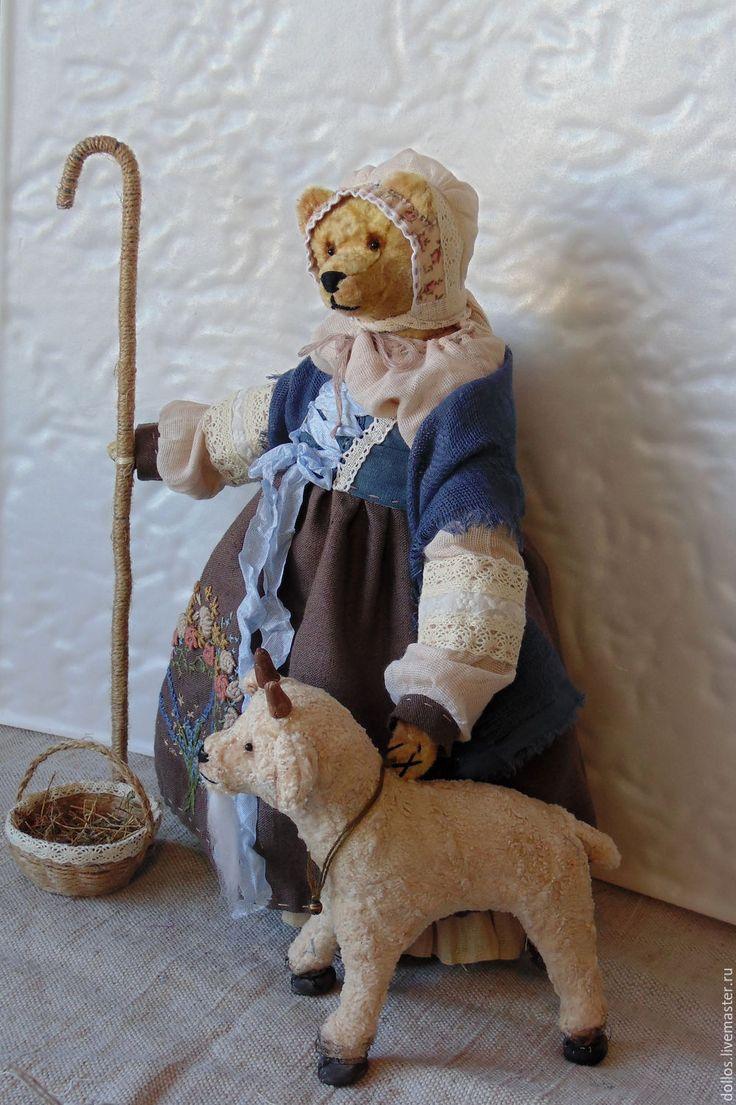 Купить Пастушка Абелия - мишка, тедди, деревня мишкино, винтаж, коллекционные медведи, ручная вышивка
