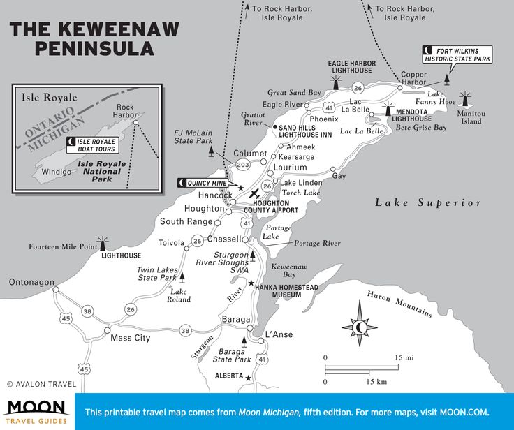 Travel map of The Keweenaw Peninsula, Michigan