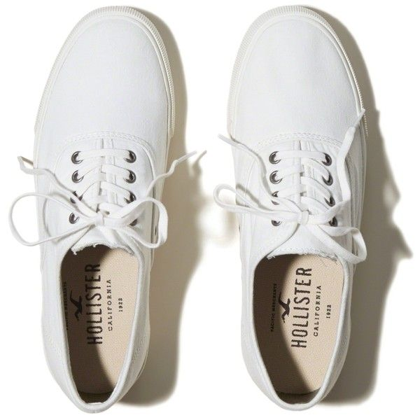 Hollister Lace Up Sneakers ($25) ❤ liked on Polyvore featuring shoes, sneakers, hollister, white, laced shoes, white eyelet shoes, white lace up sneakers, eyelets shoes and white trainers