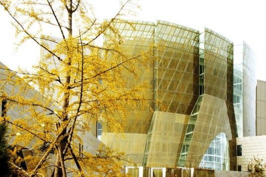 French Embassy in Beijing, characterized by its golden silk-screened glass. Designed by SAREA Alain Safati Architecture and Ginger Sechaud and Bossuyt.