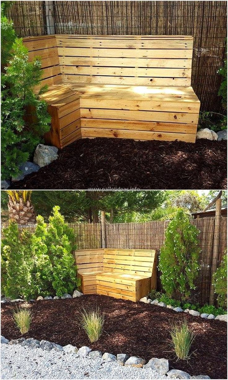The garden corner bench is a very interesting recyclable wooden pallet that you can enjoy making. This turns out to be very interesting and gives a very beautiful look to your garden. Painting the bench for the garden makes it totally worth it and you can do anything thing to make it look fantastic.