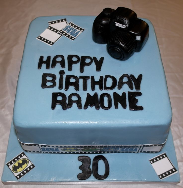 30th Birthday Camera Cake, with moulded camera and photo film