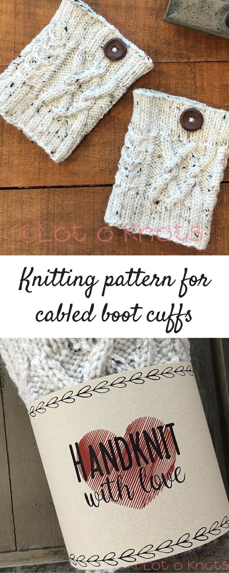 knitting pattern for cabled boot cuffs comes with a printable wrap