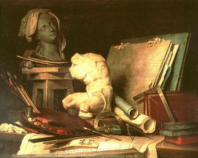 Clasificación de las artes: Cuadro 'Atributos de la pintura, la escultura y la arquitectura' de Anne Vallayer-Coster.