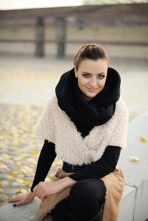 Hooded infinity scarf Women hooded scarf black cowl with