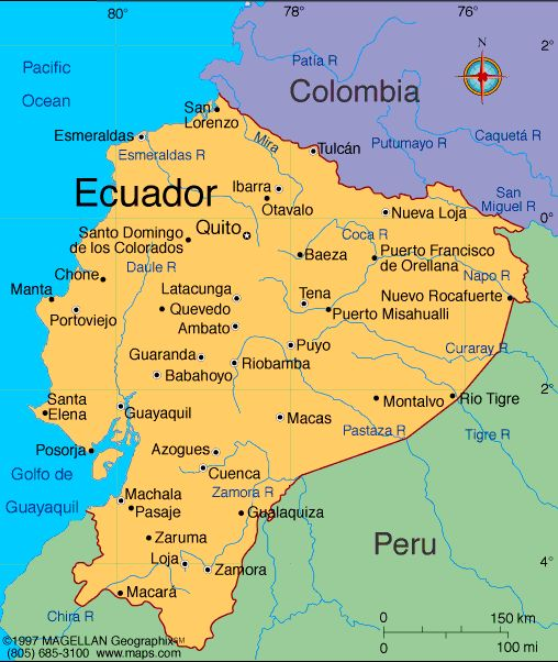 Ecuador, officially the Republic of Ecuador is a representative democratic republic in northwestern South America, bordered by Colombia on the north, Peru on the east and south, and the Pacific Ocean to the west. Ecuador also includes the Galápagos Islands in the Pacific, about 1,000 kilometres west of the mainland. ** Founded: May 24, 1822 Population: 15.74 million (2013).   Capital: Quito