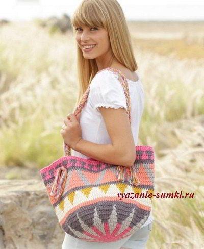 летняя вязаная сумка крючком с узором большая