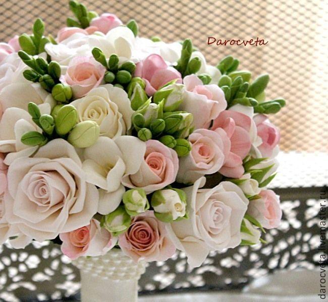 Купить Свадебный букет из фрезий и роз - бежевый, фрезия, роза, свадебный букет, букет невесты