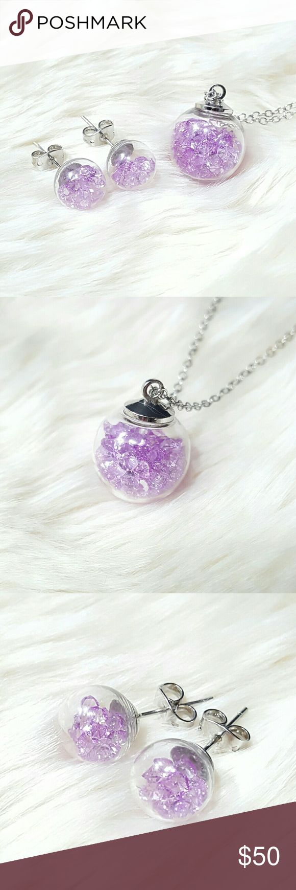 """⤵⤵Wishing Glass Set Swarovski Purple Crystals Welcome!   One Of The Kind Elegant Gorgeous Beautiful New 18 mm Round Wishing Glass Set w. Swarovski Crystal Elements & Silver Plated Chain   Order Included: 1set x 18mm Round Wishing Glass Set w. Swarovski Elements Crystal & Silver Plated Chain. Lobster Clasp. Chain size approximately 16.5"""" - 18.0""""  Fast Shipping  Free House Gift (limited amt)Shop close Nov  Come visit for great selection of high end handbag accessories, twilly, purse…"""