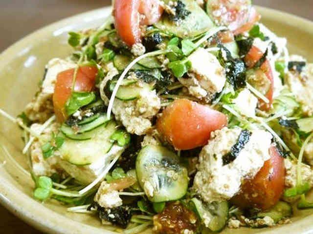 豆腐と野菜のサラダ♪梅おかか風味♪の画像