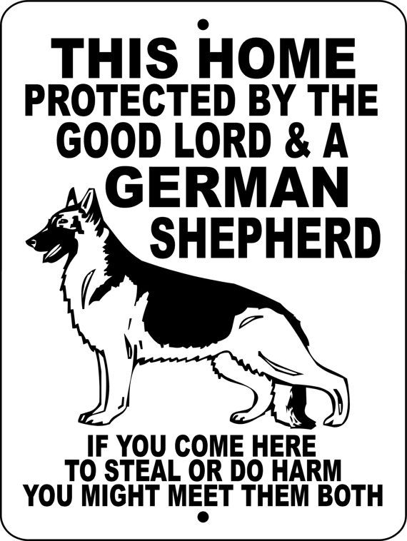 "GERMAN SHEPHERD Dog Sign 9""x12"" ""Aluminum"" GLGS1 on Etsy, $12.00. Want this for ROTTIE and TEMPI hehe"