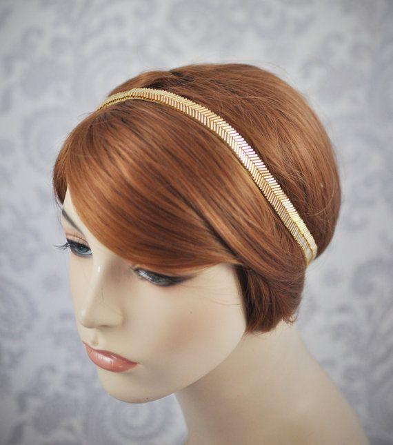 Gold Headband//1920's 1930's style Art Deco Headband//Beaded Headband of Gold or Silver//Thin Gold Head Band with Ribbon Tie//Hollywood Glam...