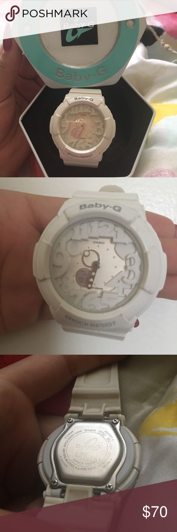 Baby g shock Super cute white baby shock with heart and light up features wore a handful of times still in amazing condition ! Original box included baby G shock Accessories Watches