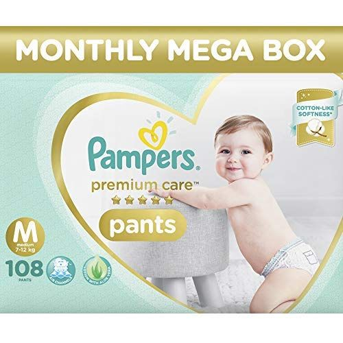 Pampers Premium Care Pants Diapers Monthly Box Pack Medium 108 Count Pampers Premium Care In 2020 Pampers Premium Care Pampers Pampers Diapers